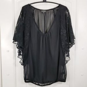 Express Gauze Blouse w/ Lace Butterfly Sleeves
